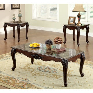 Furniture of America Callington Traditional 3-Piece Faux Marble Top Accent Table Set & Gracewood Hollow MacDonald Classic 3-piece Coffee and End Table ...