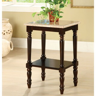 Furniture of America Arboreta Classic Marble Rectangular Top Side Table