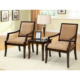 Furniture of America Frieda 3-Piece Espresso Accent Table and Chair Set