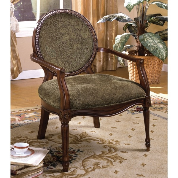 Furniture of America Havy Traditional Dark Oak Fabric Accent Chair