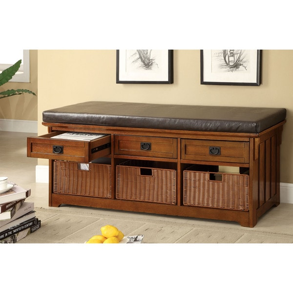 Shop Furniture Of America Hodor 60 Inch 3 Drawer Storage Bench