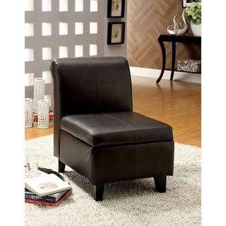 Furniture of America Terrari Leatherette Storage Accent Chair