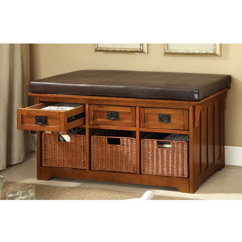 Furniture of America Veon Transitional Oak Faux Leather Storage Bench