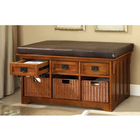 Furniture of America Hodor 42-Inch 3-Drawer Storage Bench