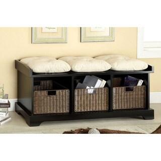Furniture of America Laurissa Modern 3-Basket Storage Bench