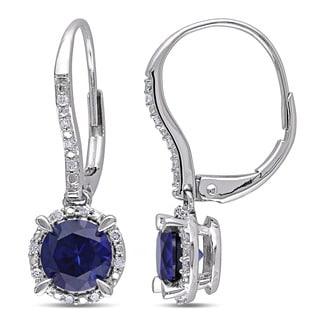 Miadora 10k White Gold Created Sapphire and 1/10ct TDW Diamond Earrings (H-I, I2-I3)