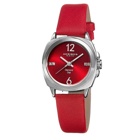Akribos XXIV Women's Swiss Quartz Diamond-Accented Satin Red Strap Watch