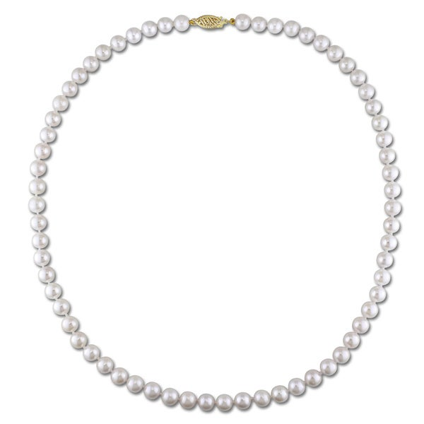 Miadora 14k Yellow Gold White Cultured Akoya Pearl Necklace (6-7 mm)
