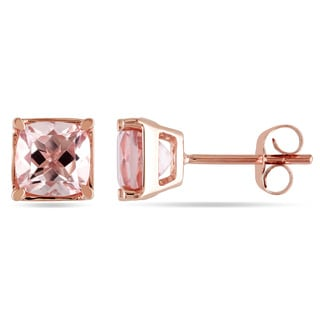Miadora 10k Rose Gold 1 3/4ct TGW Square Morganite Stud Earrings