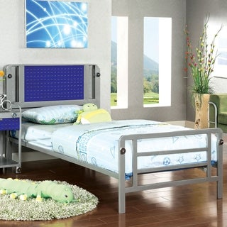 Furniture of America Brennise Silver and Dark Blue Metal Youth Bed
