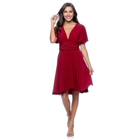 Women's Short Dress Convertible Wrap Cocktail Gown Multi Way Bridesmaid Dresses One Size Fits 0-12