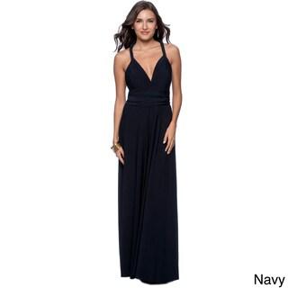 Women's Long Maxi Dress Convertible Wrap Cocktail Gown Bridesmaid Multi Way Dresses One Size Fits 0-12 (Option: Blue)