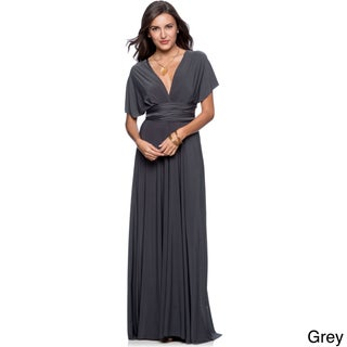 Women's Long Maxi Dress Convertible Wrap Cocktail Gown Bridesmaid Multi Way Dresses One Size Fits 0-12 (Option: Grey)