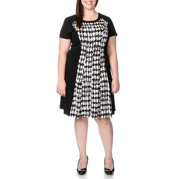 Sandra Darren Women\'s Plus Size Houndstooth Print A-line Dress