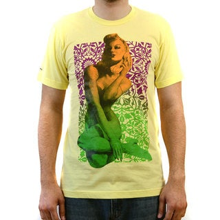 Jeepney Men's Yellow Short Sleeve T-shirt wtih Sexy Phone Screen