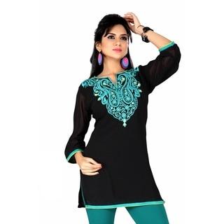 Women's Black/ Green Embroidered Georgette Kurti Tunic (India)