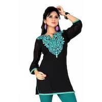 Handmade Women's Black/ Green Embroidered Georgette Kurti Tunic (India)