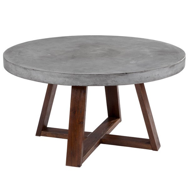 Sunpan 39 Mixt 39 Devons Rustic Concrete Round Coffee Table Free Shipping Today