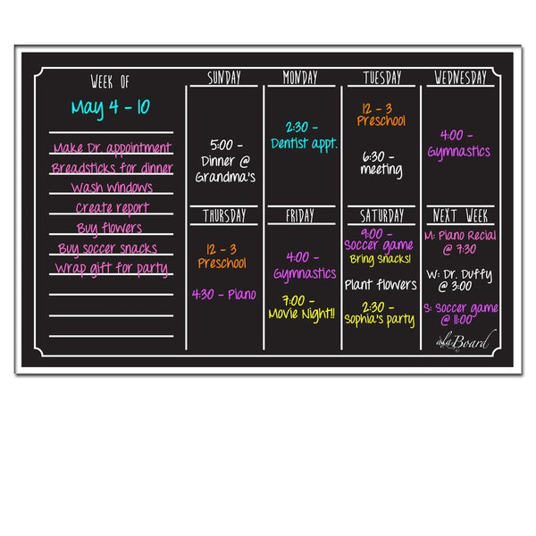 Weekly Calendar Magnet : Black fluorescent dry erase weekly calendar magnetic board