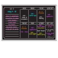 AlaBoard Black Fluorescent Dry Erase Weekly Calendar Magnetic Board