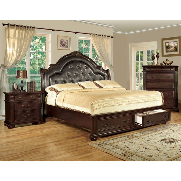 Furniture of America Lauretta English Style Brown Cherry Platform Bed