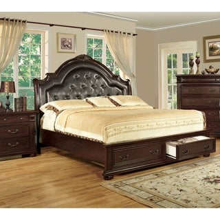 Furniture of America Bis Traditional Cherry Solid Wood Platform Bed