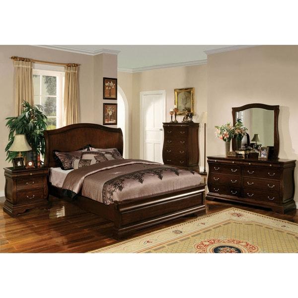 Transitional Style Bedroom Furniture: Shop Furniture Of America Transitional Style Dark Walnut