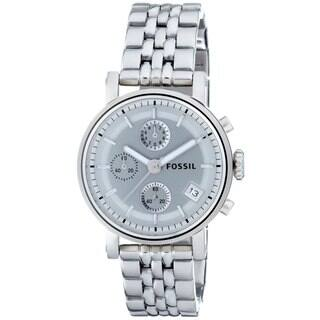 Fossil Women's ES2198 Stainless Steel Bracelet Silver Analog Dial Chronograph Watch https://ak1.ostkcdn.com/images/products/9216396/P16385718.jpg?impolicy=medium