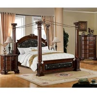 Furniture of America Luxury Brown Cherry Baroque Style Poster Canopy Bed