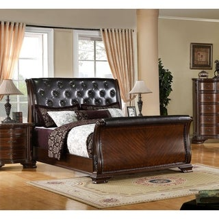 Furniture of America Luxury Brown Cherry Leatherette Baroque Style Sleigh Bed