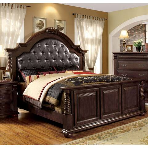 Furniture of America Gaya Traditional Cherry Faux Leather Platform Bed
