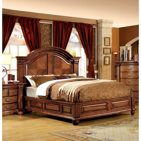 Furniture of America Righ Traditional Oak Solid Wood Panel Bed