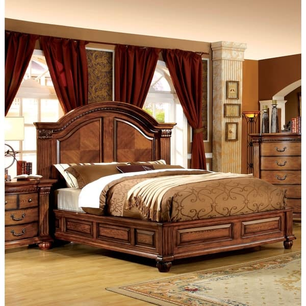 Traditional Antique Tobacco Oak Panel Bed by FOA