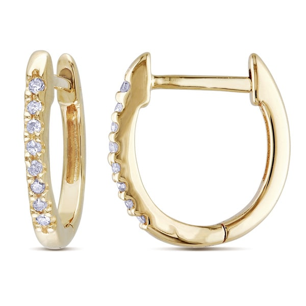 fdfafecb8 Shop Miadora 10k Yellow Gold 1/10ct TDW Diamond Cuff Hoop Earrings ...