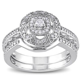Miadora Sterling Silver 1/3ct TDW Diamond Floral Bridal Ring Set
