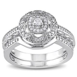 Miadora Sterling Silver 1/3ct TDW Diamond Floral Bridal Ring Set