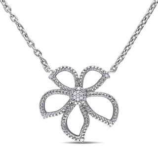 Miadora Sterling Silver Diamond Accent Flower Necklace
