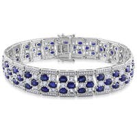 Miadora Sterling Silver Created Blue and and Created White Sapphire Tennis Bracelet