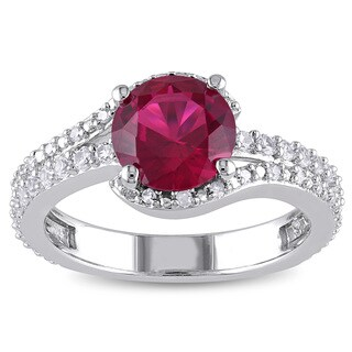 Miadora Sterling Silver Created Ruby, Created White Sapphire and 1/10ct TDW Diamond Ring (H-I, I2-I3