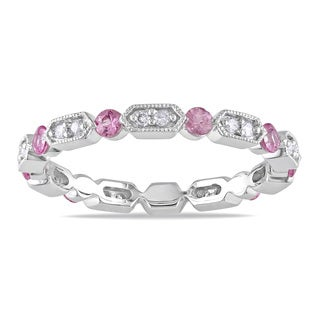 Miadora 14k White Gold Pink Sapphire and 1/2ct TDW Diamond Eternity Ring (G-H, I1-I2)
