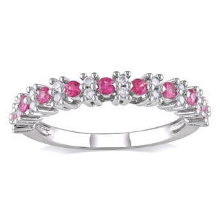 Miadora 10k White Gold Pink Sapphire and 1/6ct TDW Diamond Ring (H-I, I2-I3)
