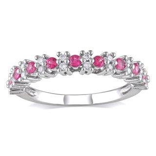 Miadora 10k White Gold Pink Sapphire and 1/6ct TDW Diamond Ring (H-I, I2-I3)