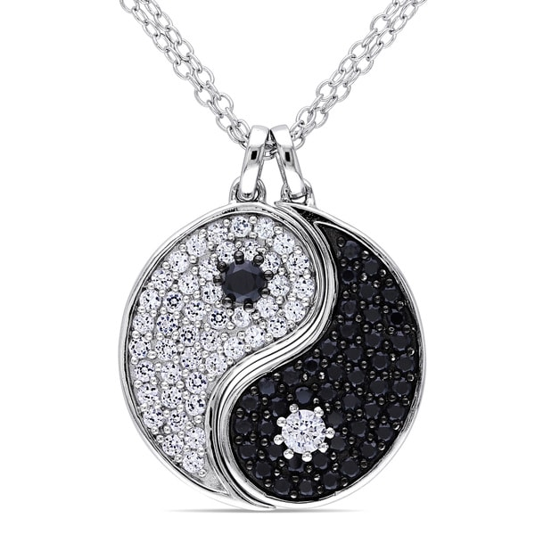 Miadora Silver Black Spinel and White Sapphire Yin Yang Necklace