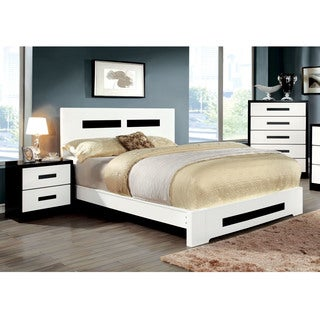 Furniture of America Seleness 2-piece Contemporary Duo-Tone Bed with Nightstand Set