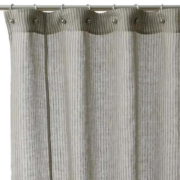 Linen Stripe Kitchen Curtains: Shop Linen Stripe Cotton Shower Curtain
