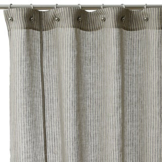 Shop Linen Stripe Cotton Shower Curtain Free Shipping