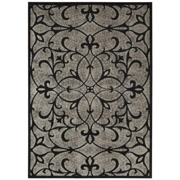 Nourison Graphic Illusions Black Area Rug - 7'9 x 10'10