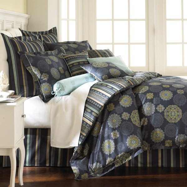 Amraupur Overseas Starry Night Blue Floral 8-piece Comforter Set