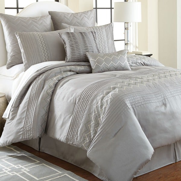 Gray Embroidered Comforter : Amrapur overseas reagan gray piece embroidered comforter