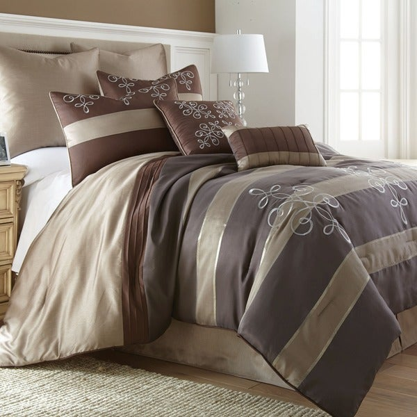 Amraupur Overseas Reve Striped 8-piece Jacquard Comforter Set